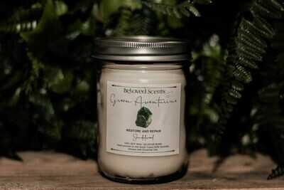 Crystal Infused Green Aventurine  Candle