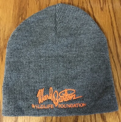 Gray beanie cap with orange embroidery