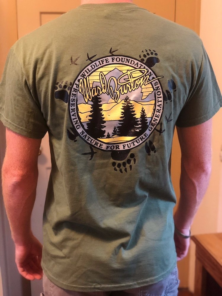 Military green shirt with footprints surrounding the logo (back shown)