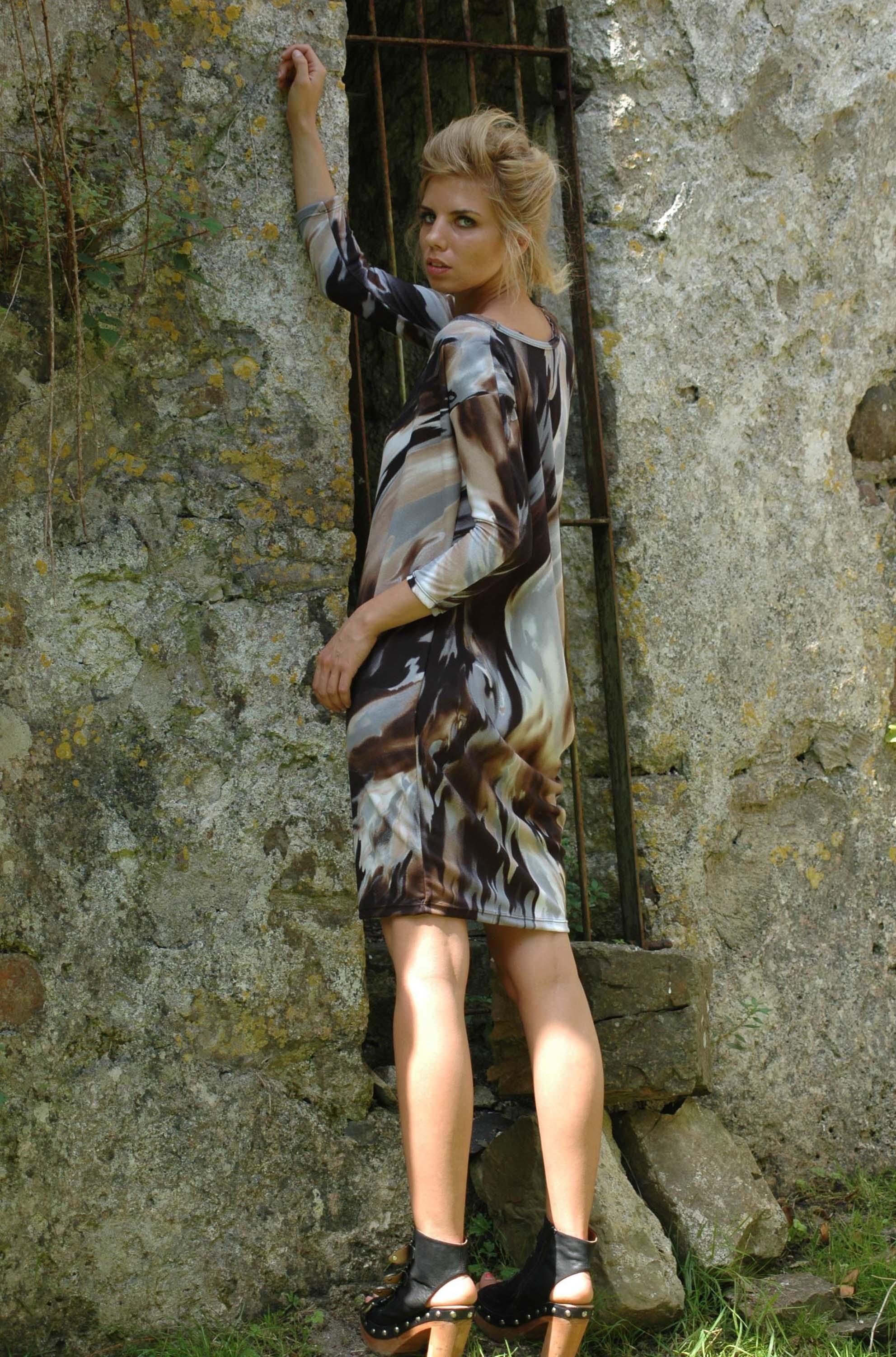 Nival Drapped Marbel Dress