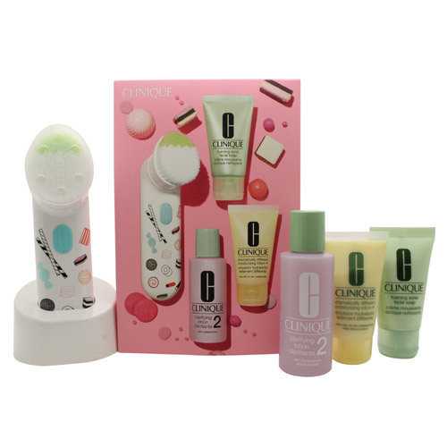 Clinique 3-Step Skincare Gift Set 30ml Foaming Facial Soap + 60ml Clarifying Lotion 2 + 30ml Dramatically Different Moisturising Lotion + Purifying Cleansing Brush 00042