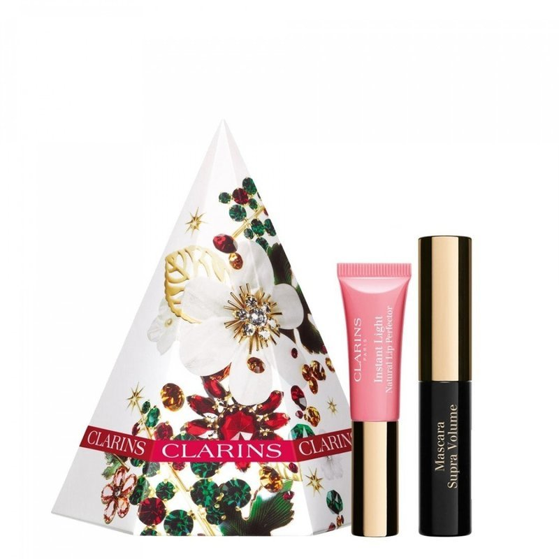 Clarins Festive Treats Eyes and Lips Gift Set 3.5ml Supra Volume Mascara + 5ml Light Natural Lip Perfector - 01 Rose Shimmer