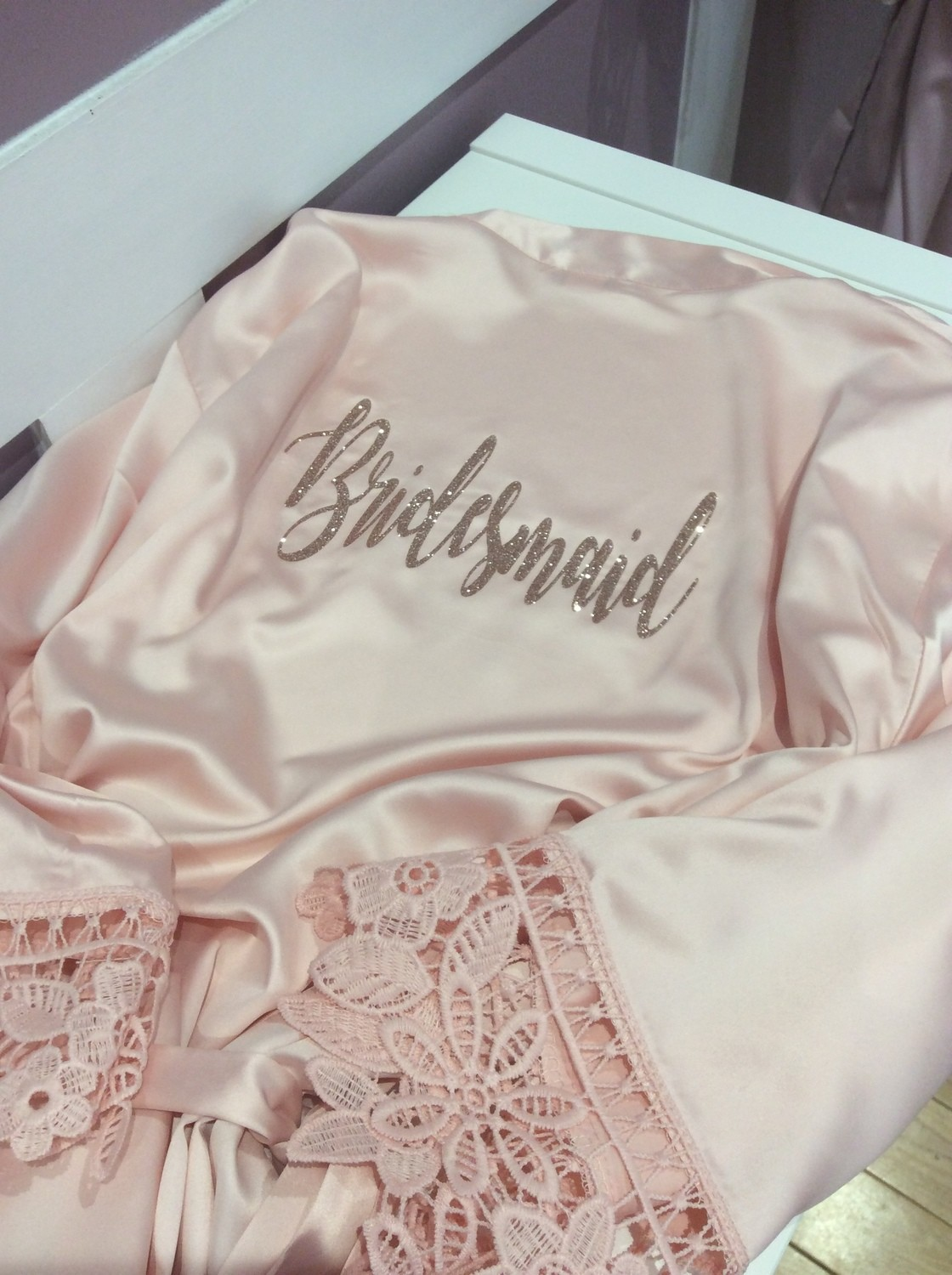 Personalised  glitter matte satin lace edged robes