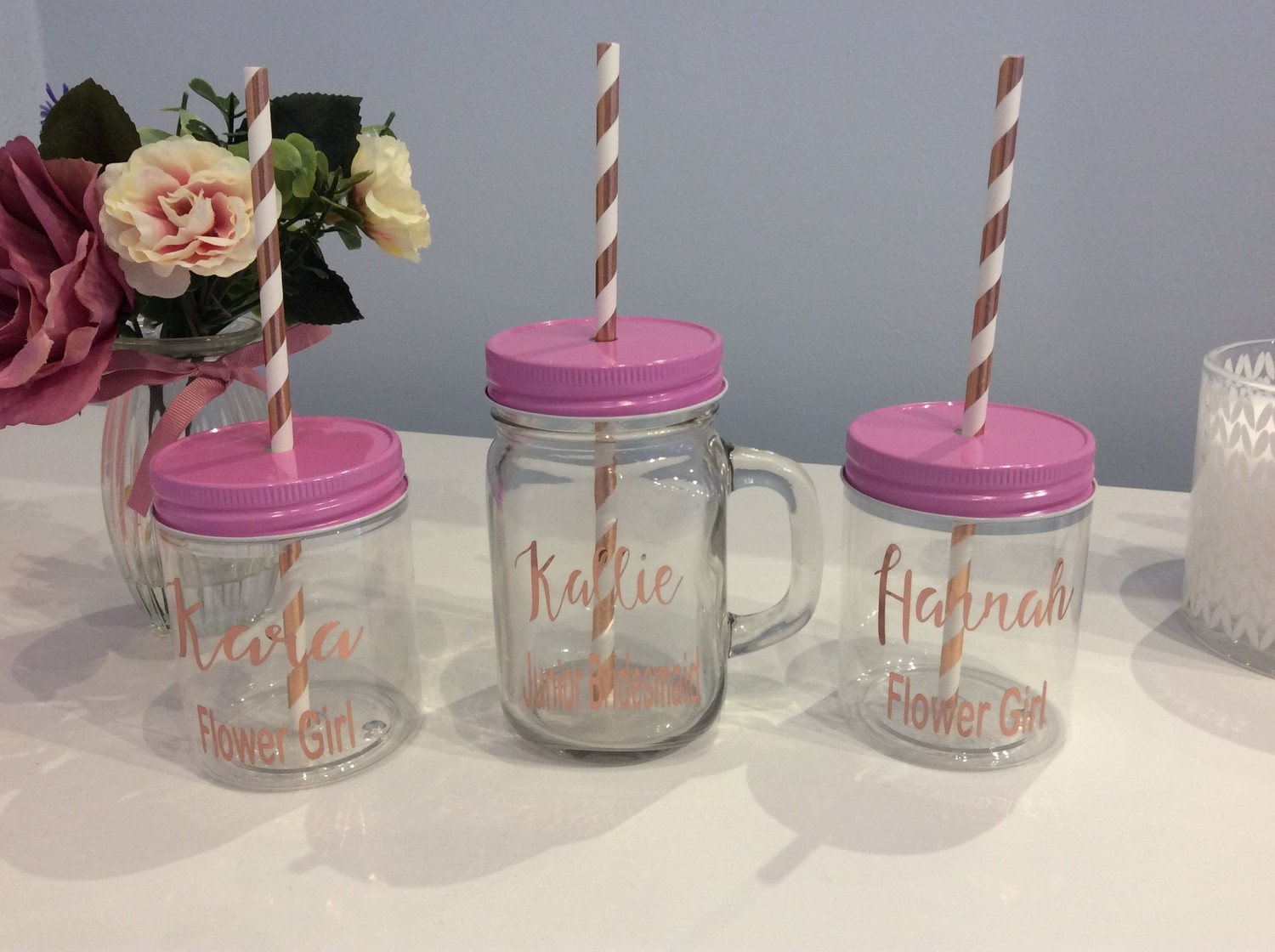Personalised Drinking cup and mason jar