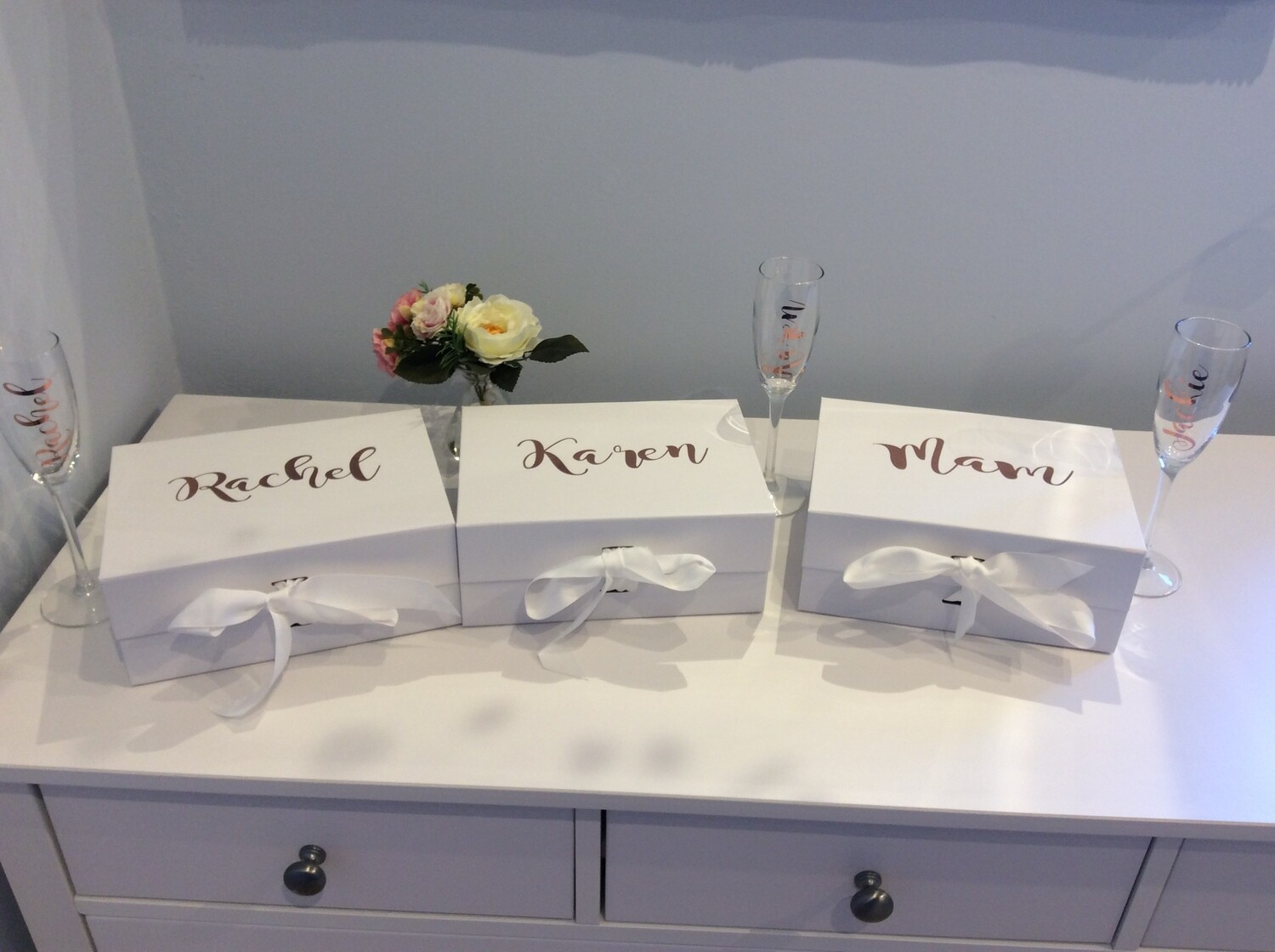 Personalised medium white ribbon tied gift box