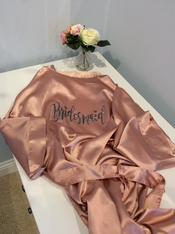 NEW Personalised ROSE GOLD Matt satin plain robe