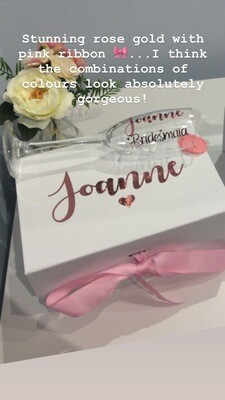 OFFER NOW ON...Personalised proposal medium  ribbon box & matching champagne flute FREE CHAMPAGNE FLUTE