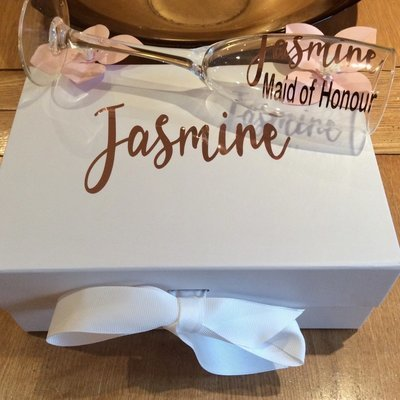 Personalised proposal medium  ribbon box & matching champagne flute