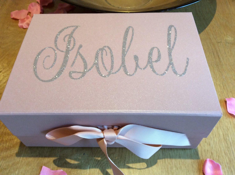 Personalised medium rose gold ribbon box