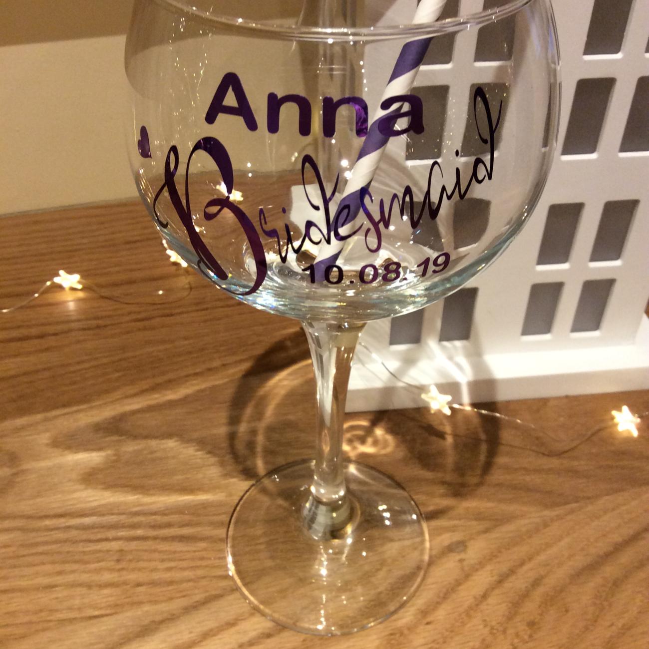 Personalised bridesmaid gin glasses