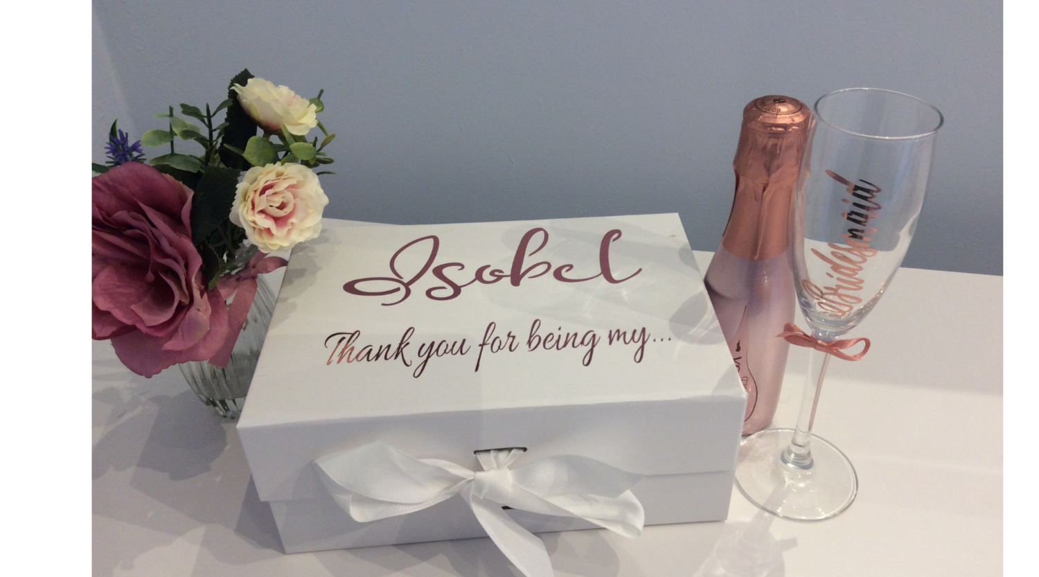 Ribbon tied Thank you filled gift box