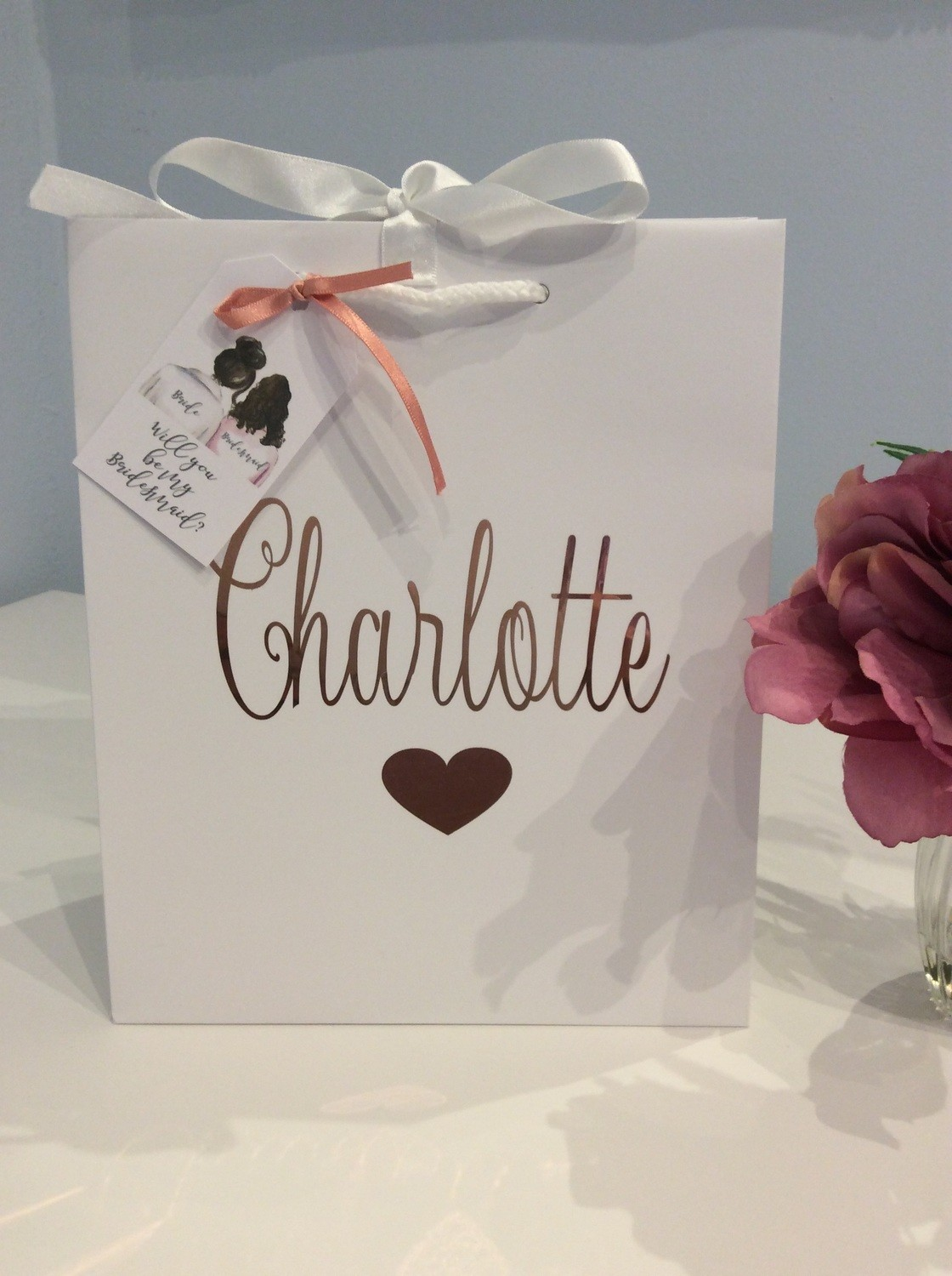 Personalised white gift bag with tags