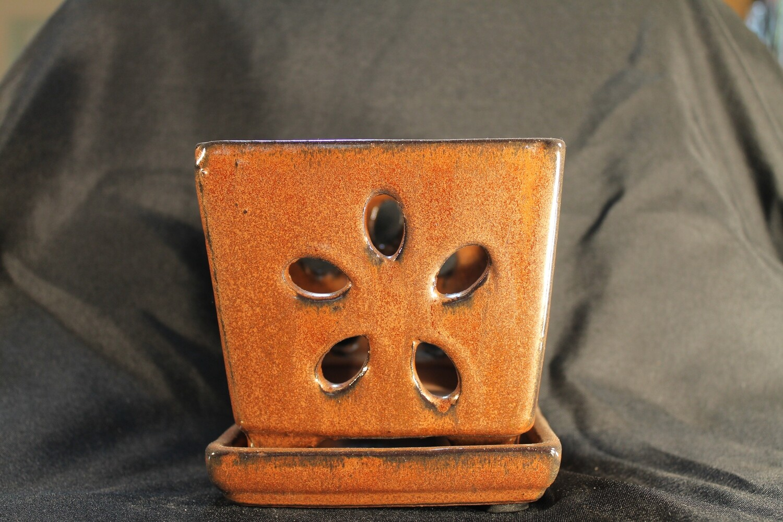 "4"" Square Decorative Orchid Pot"
