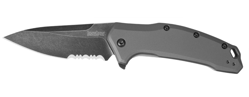 1776GRYBWST, Kershaw, Link Assisted, Gray Aluminum Handle, Blackwash ComboEdge