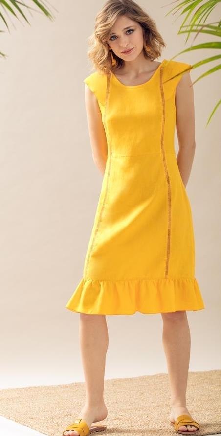 Maloka: Lovely Linen & Ruffles Flared Dress (Many Colors, Ships Immed in Violet!)