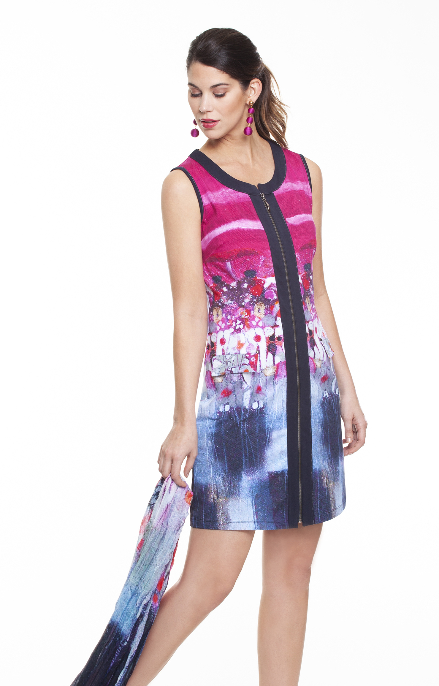 Simply Art Dolcezza: Fuschia Candy Storm Abstract Art Zip Dress (1 Left!) DOLCEZZA_SA_19653
