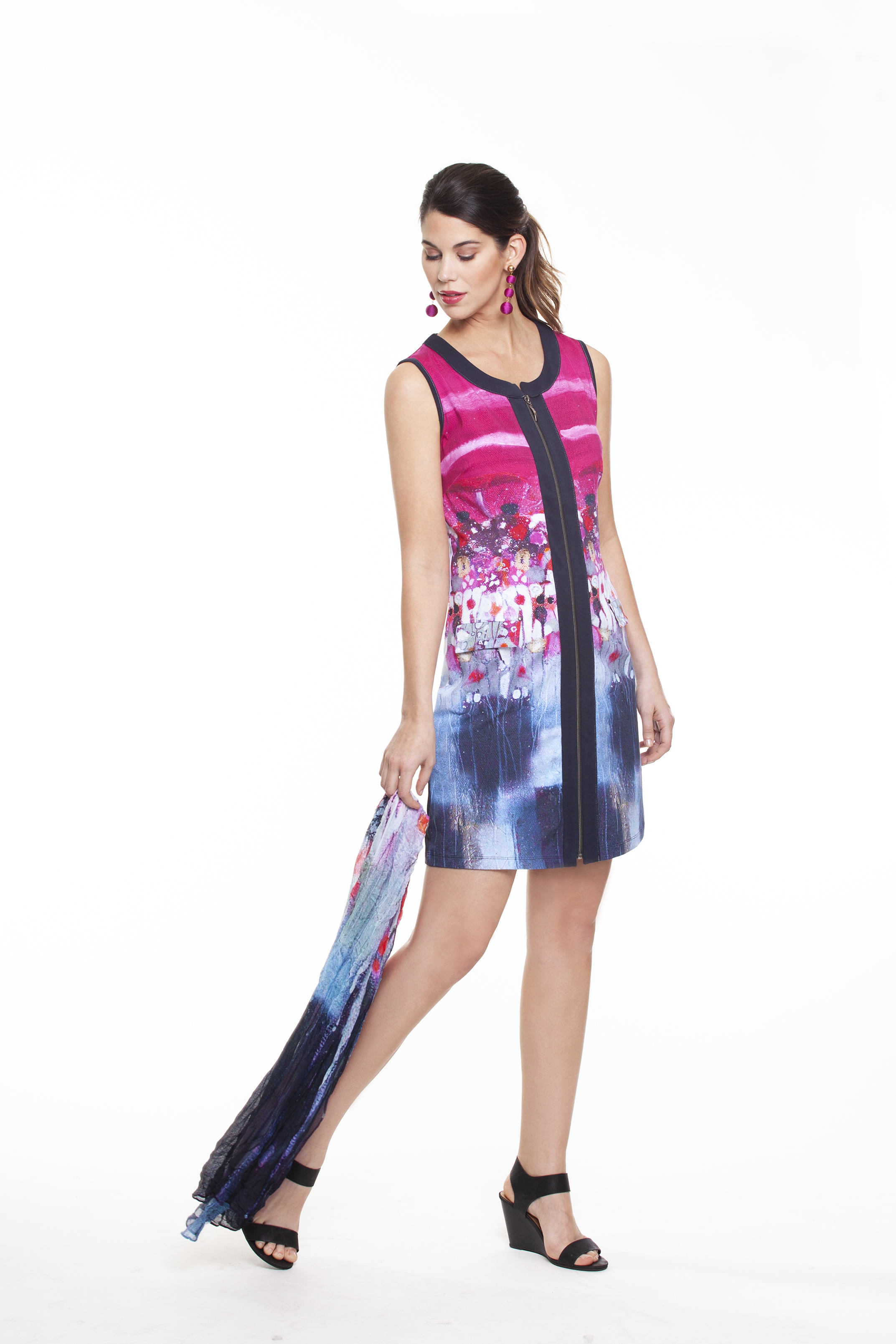 Simply Art Dolcezza: Fuschia Candy Storm Abstract Art Zip Dress (2 Left!)