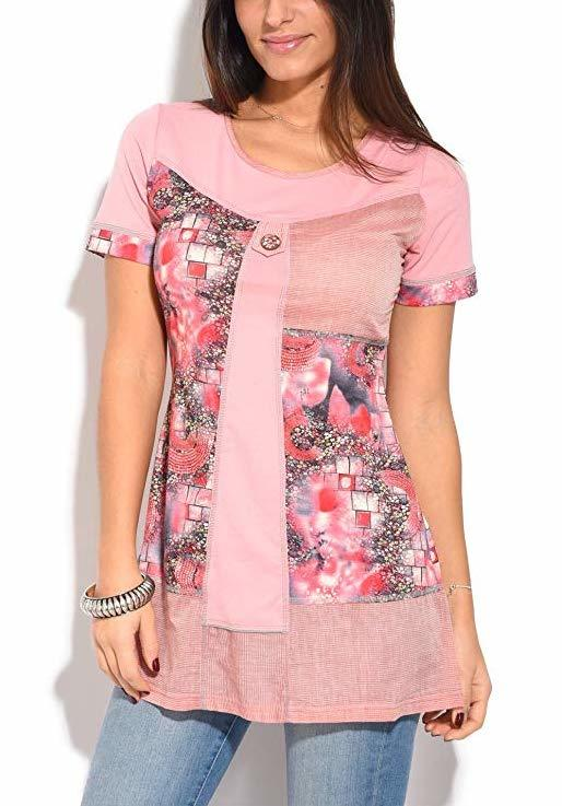 S'Quise Paris: Fuschia Pink Blooms Cotton Tunic SQ_1621_N