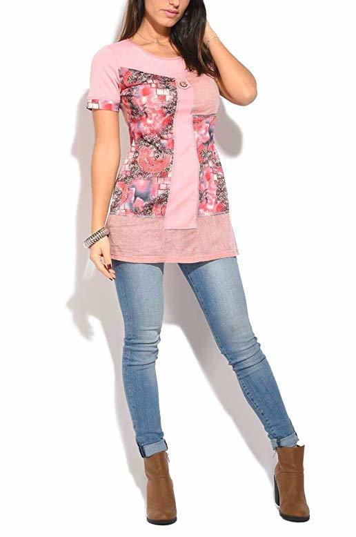 S'Quise Paris: Fuschia Pink Blooms Cotton Tunic