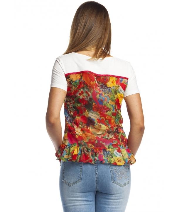 Rosalita McGee: Wild Strawberry Patch Asymmetrical Ruffle Tunic