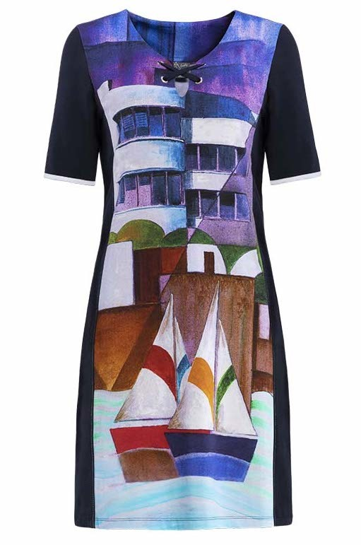 Simply Art Dolcezza: Sandycove Harbor Abstract Art Flared Dress/Tunic SOLD OUT DOLCEZZA_SA_19606