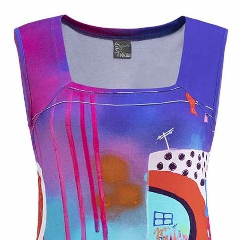 Simply Art Dolcezza: Fuschia Paint Spill Abstract Art Top SOLD OUT