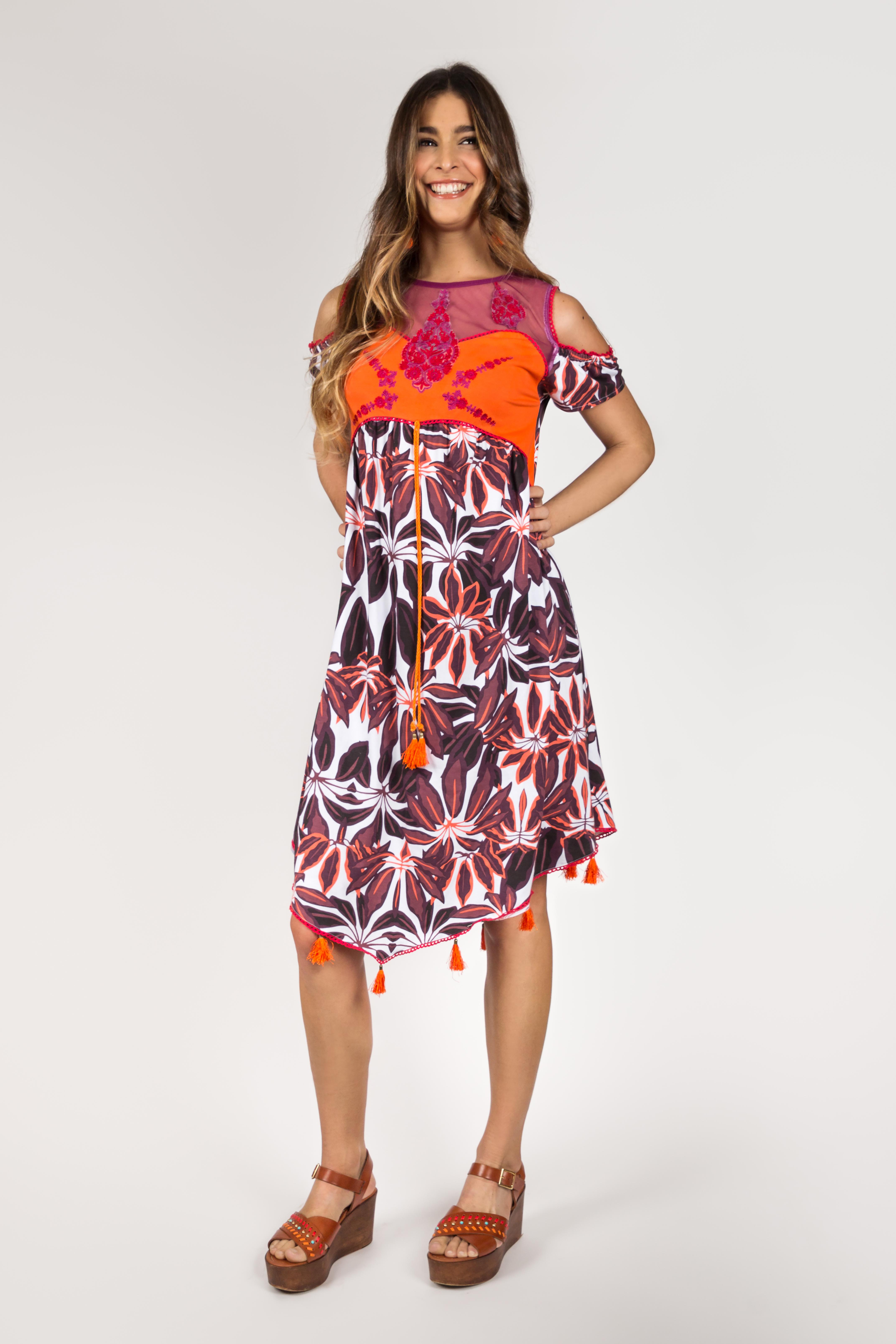 Shoklett Spain: Orange Hibiscus Cold Shoulder Samantha Midi Dress SHOKLETT_62S19DR_N