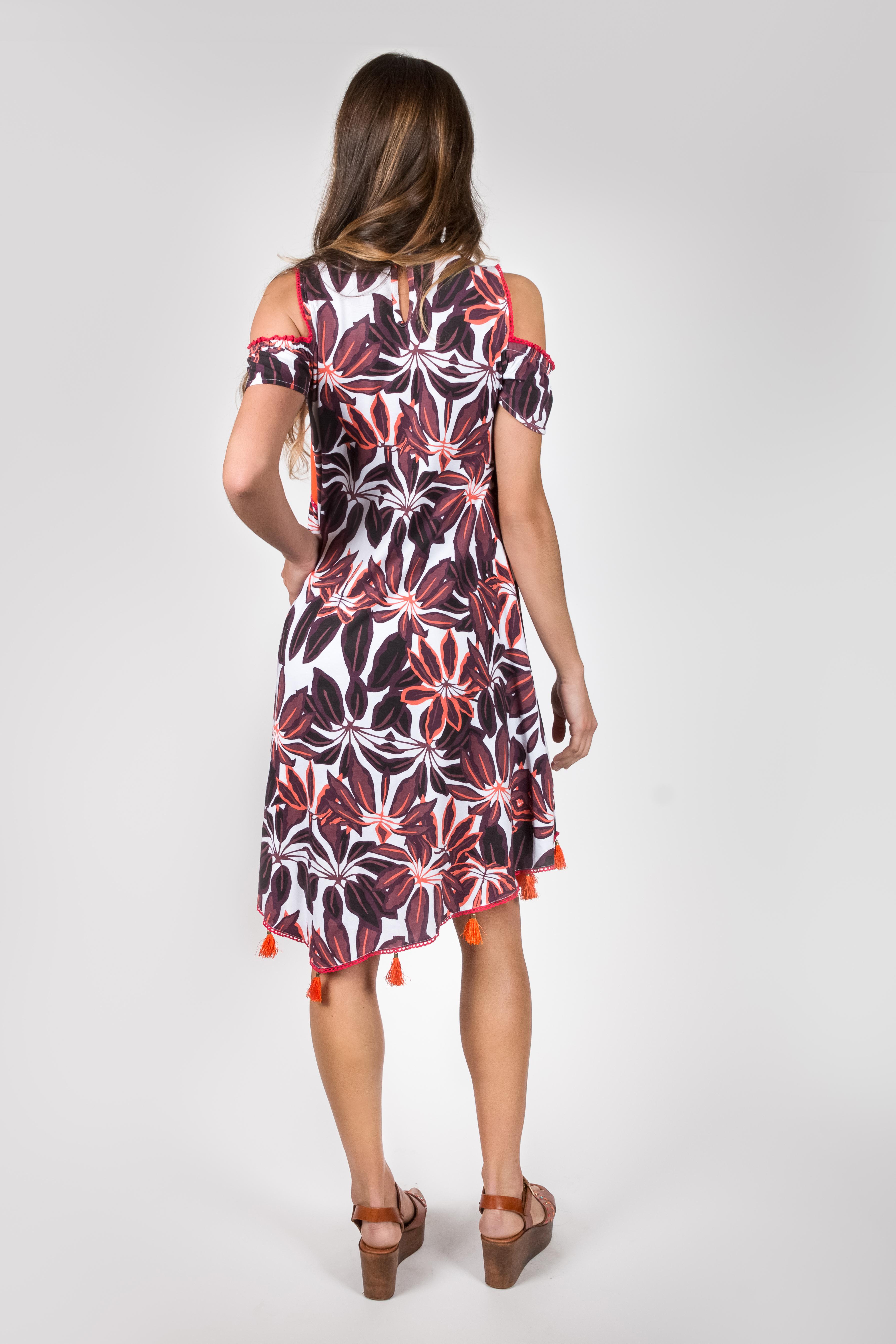 Shoklett Spain: Orange Hibiscus Cold Shoulder Samantha Midi Dress