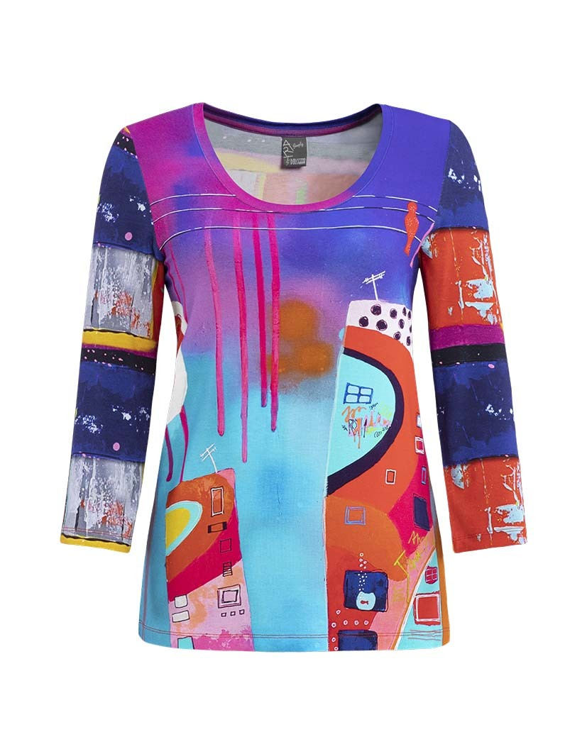 Simply Art Dolcezza: Fuschia Paint Spill Abstract Art Tunic DOLCEZZA_SIMPLY_ART19631