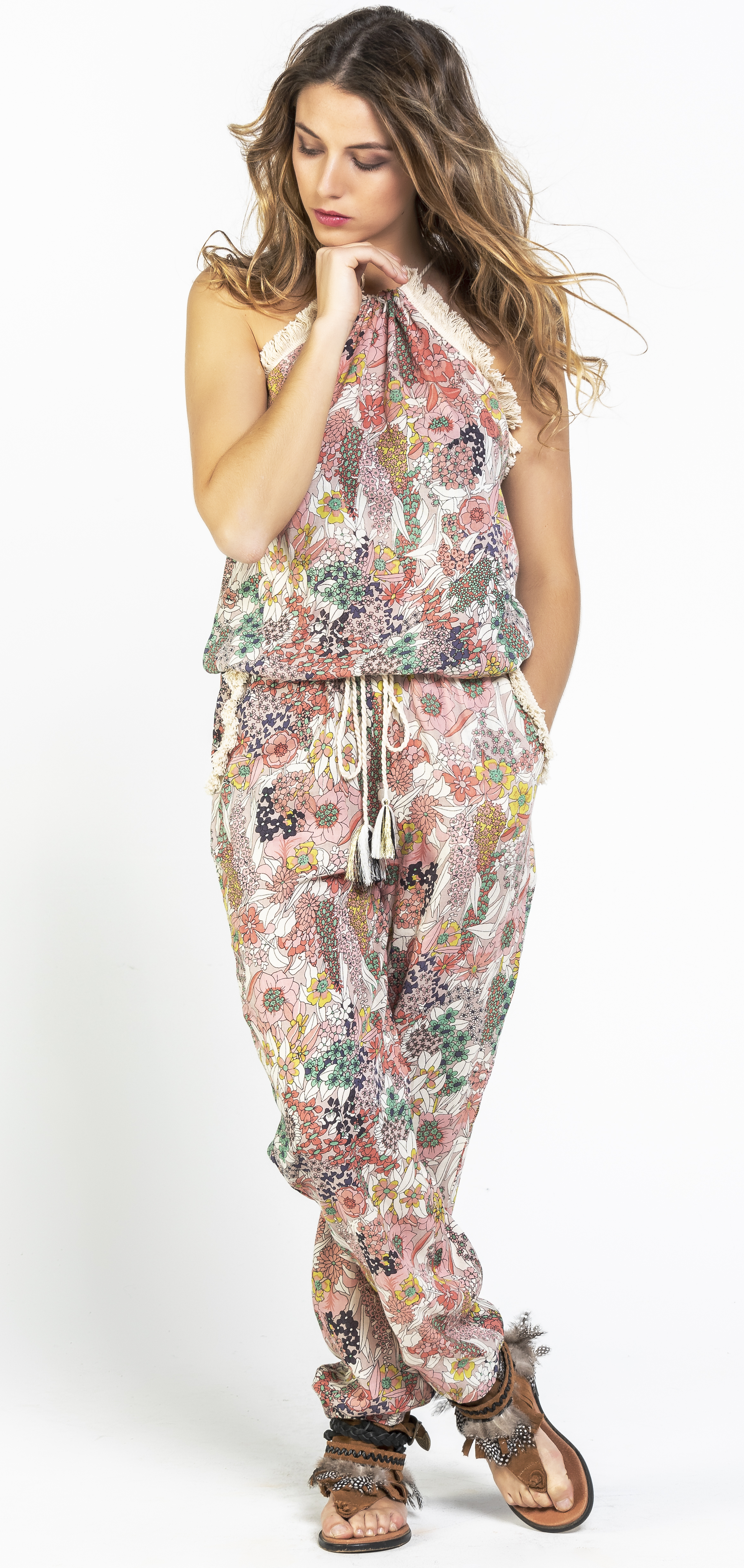 Savage Culture: Pink Daffodil Long Beach Jumpsuit SAVAGE_36013