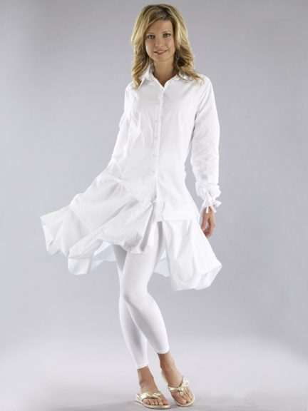 Luna Luz: Lavish Ombre Dyed Tunic/Dress (Ships Immed in White/Navy)! LL_167_N3