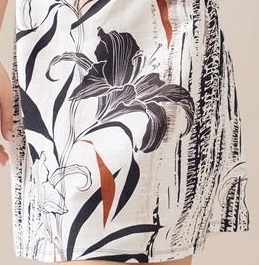 Maloka: Black Lily Sketch Art Colorblock Linen Midi Dress (2 Left!)