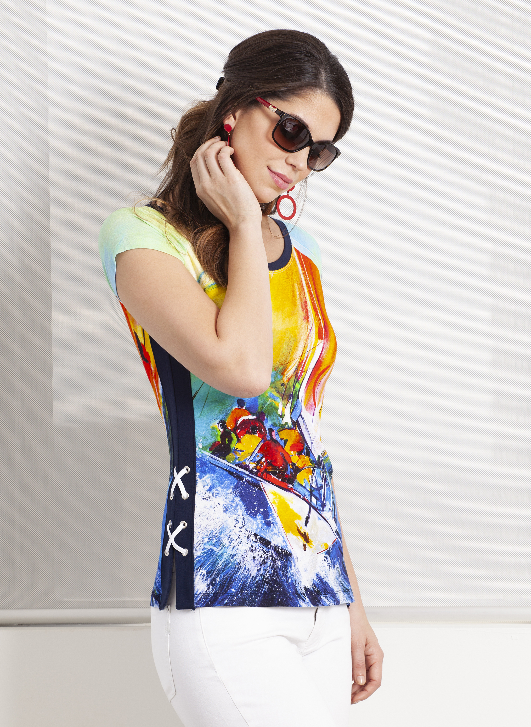 Dolcezza Simply Art: The Grand Depart Criss Cross Side Art Top SOLD OUT DOLCEZZA_SIMPLY_ART_19772