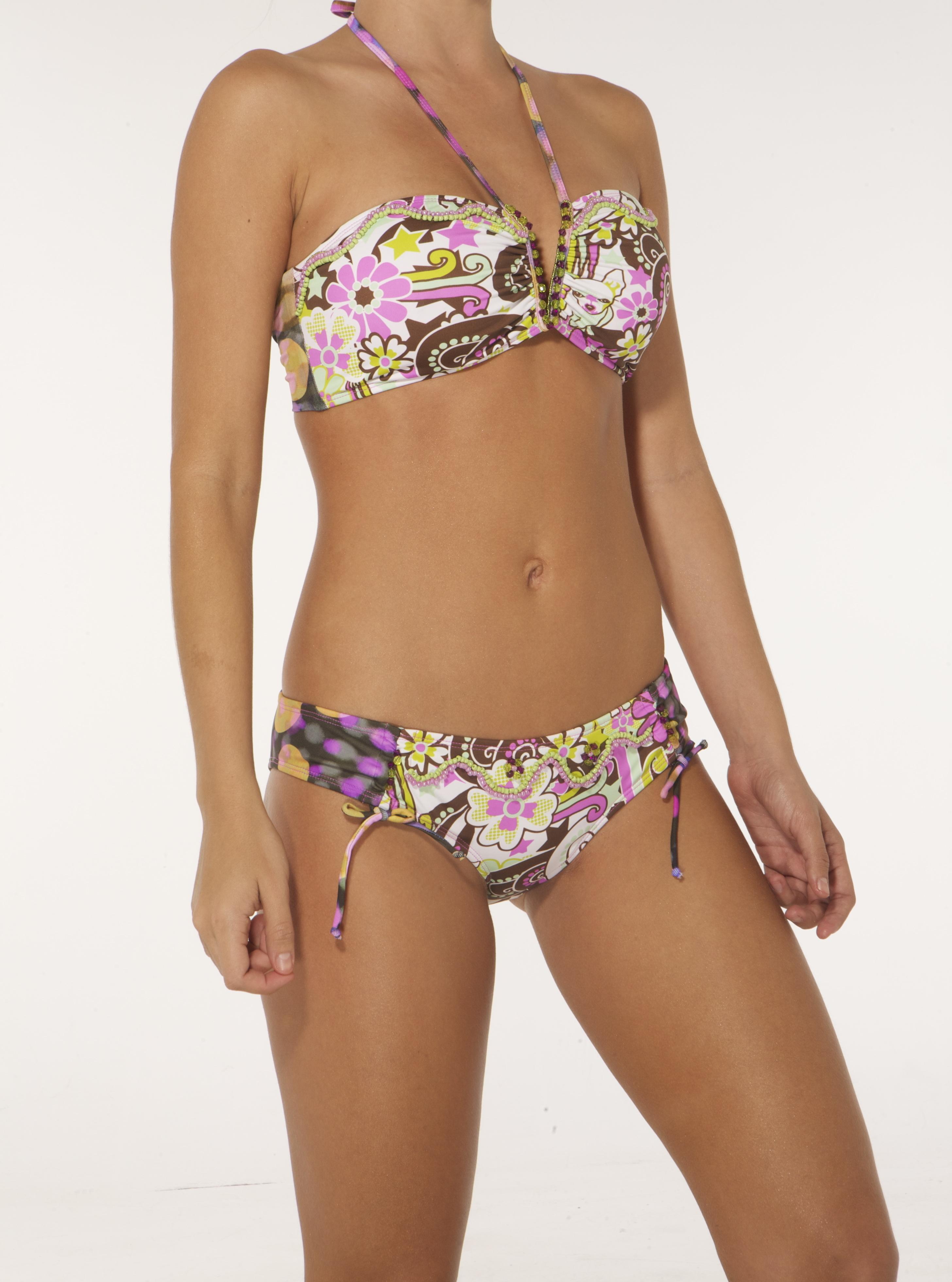 Paradizia Swimwear: Pink Crystal Bandeau (Shown with matching Hipkini)