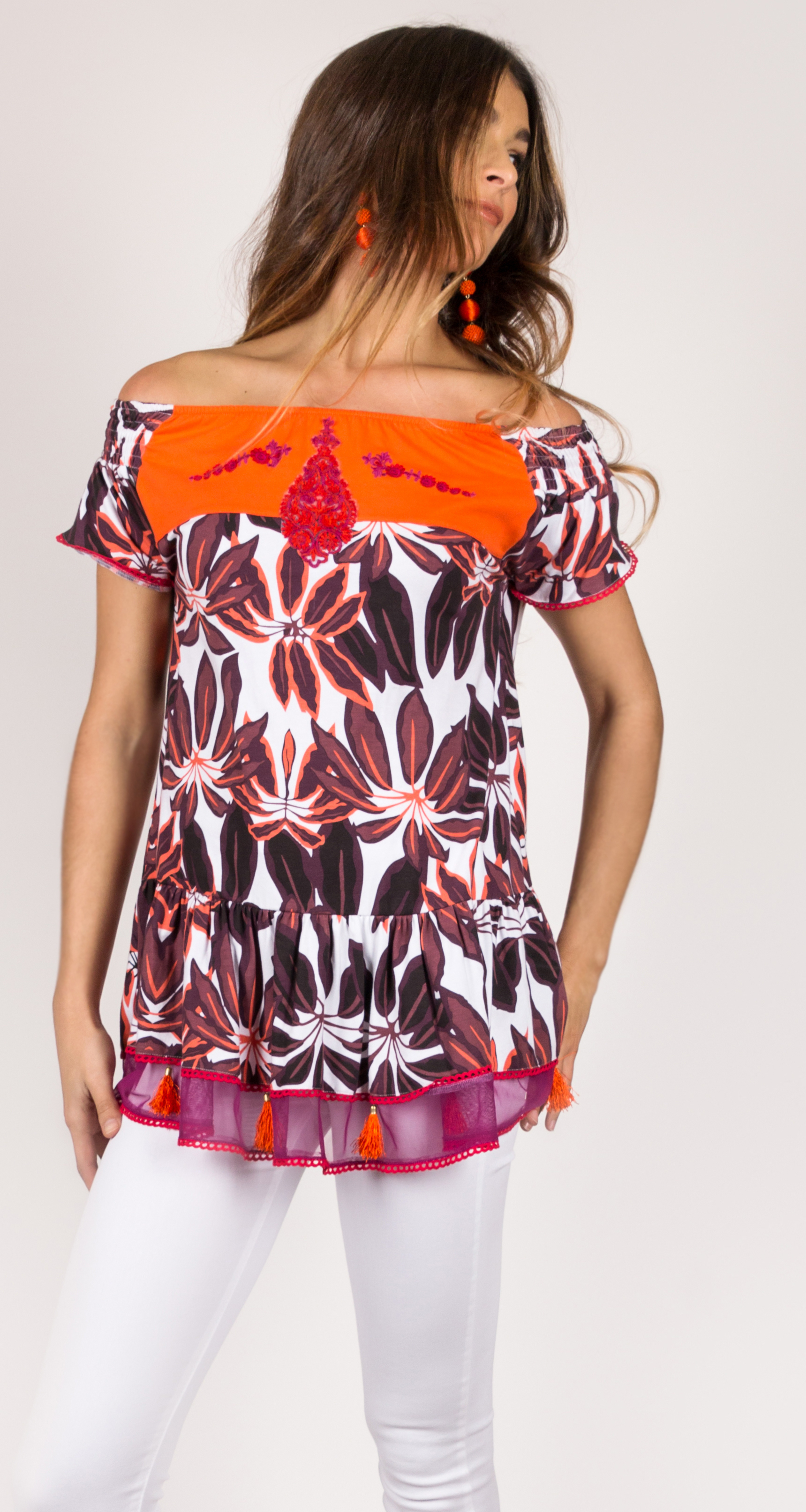 Shoklett Spain: Orange Hibiscus Off Shoulder Samantha Tunic SHOKLETT_63S19T2
