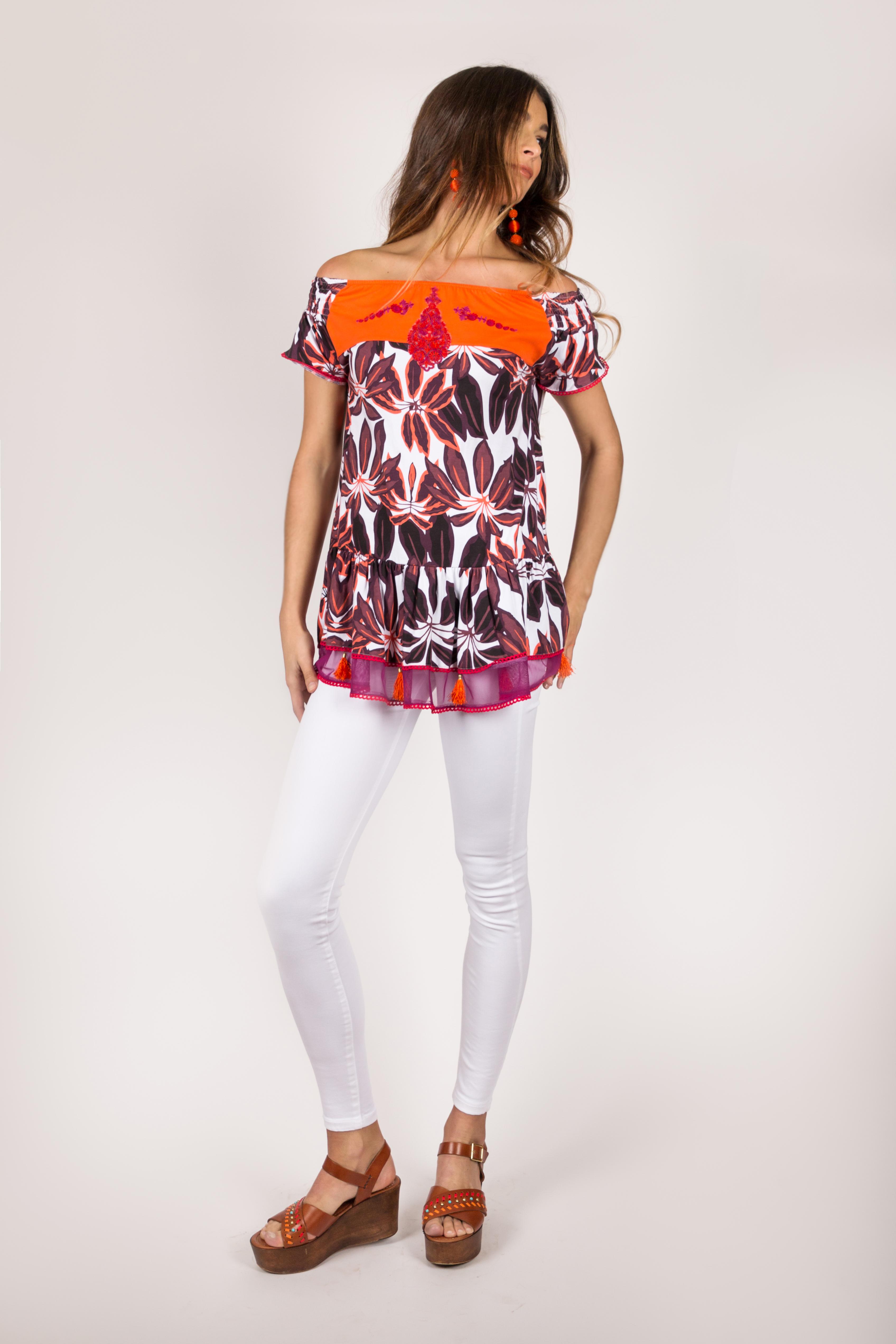 Shoklett Spain: Orange Hibiscus Off Shoulder Samantha Tunic