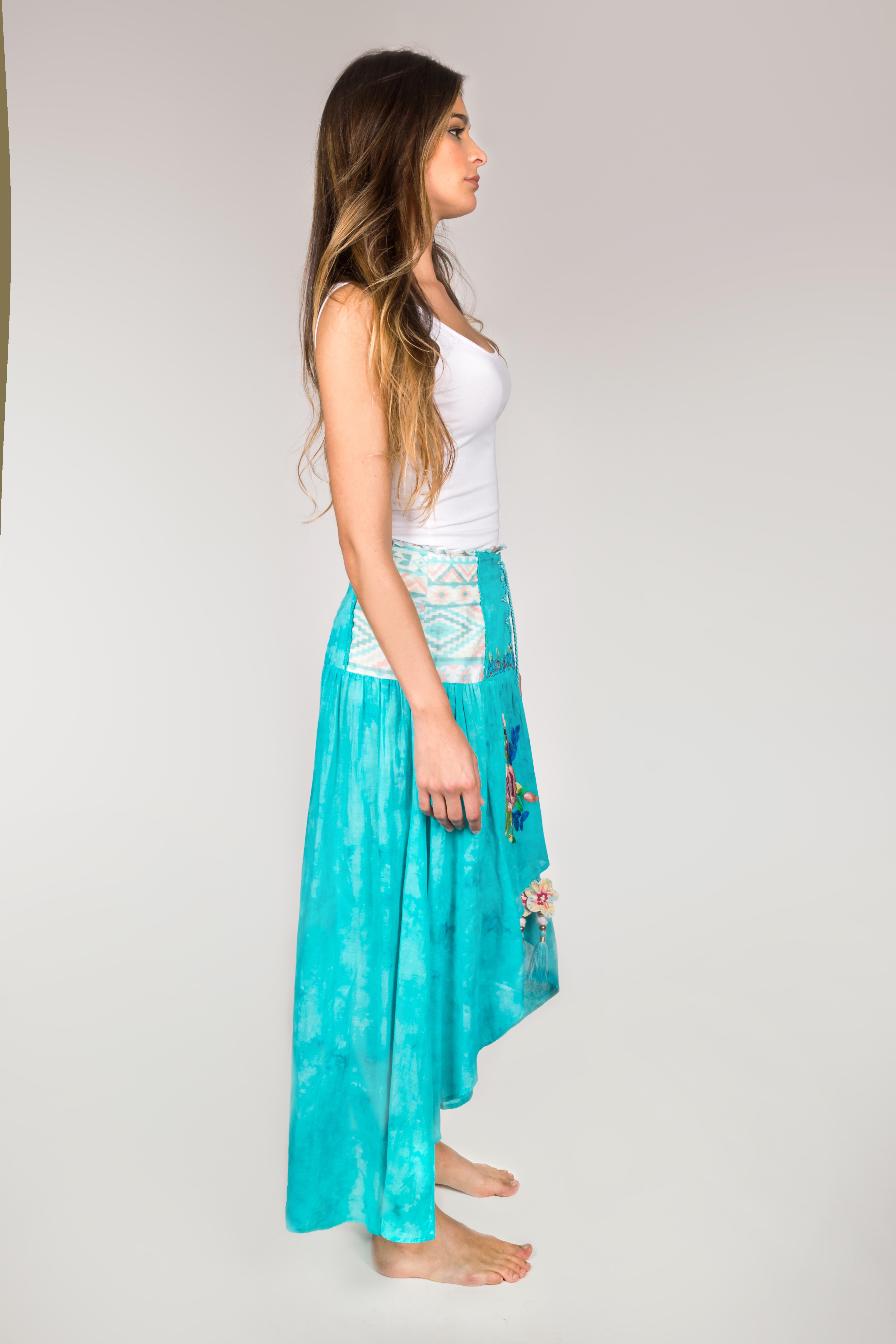 Shoklett: High Low Corset Waist Sea Flower Skirt Sherlyn