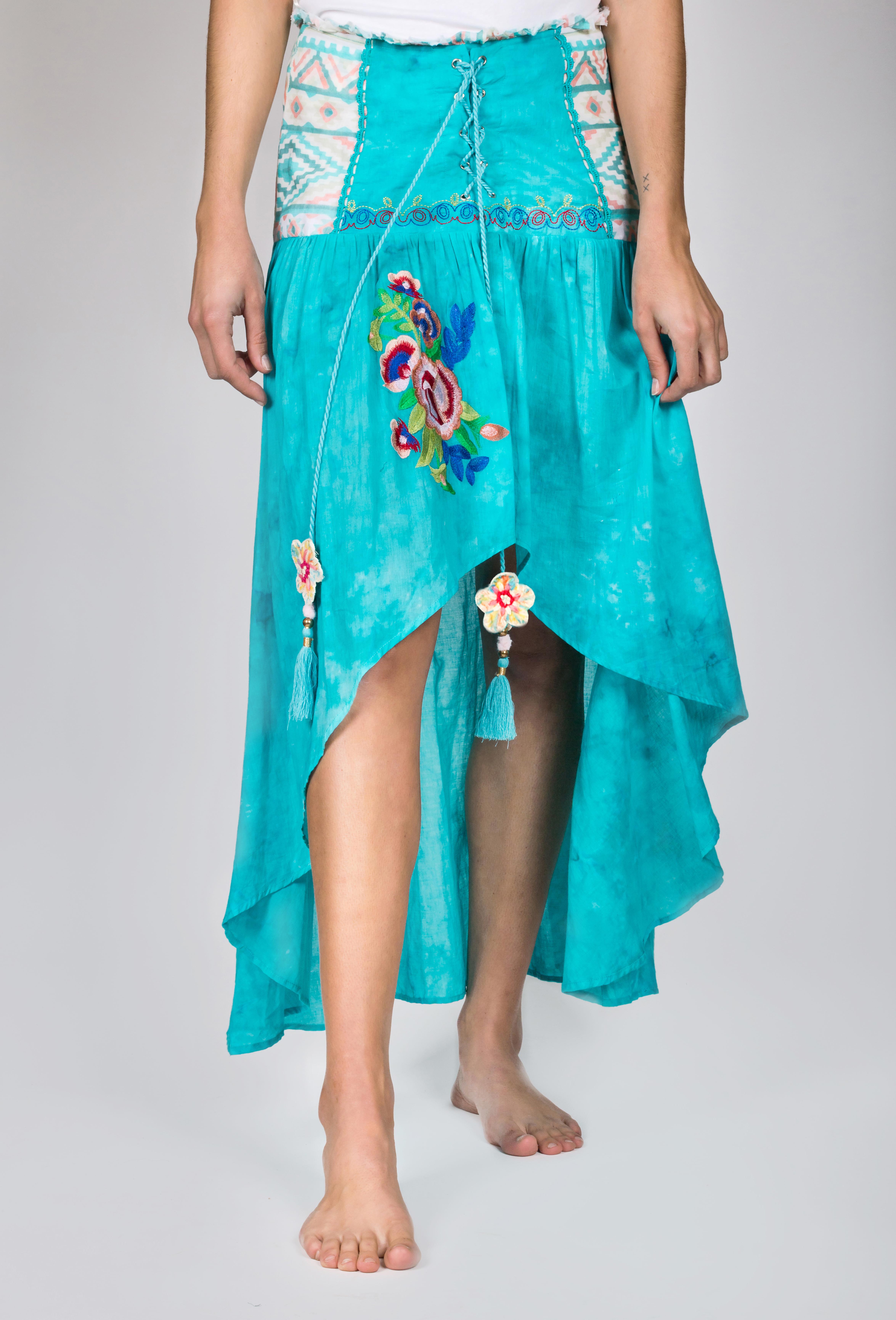 Shoklett: High Low Corset Waist Sea Flower Skirt Sherlyn SHOKLETT_23S19SK