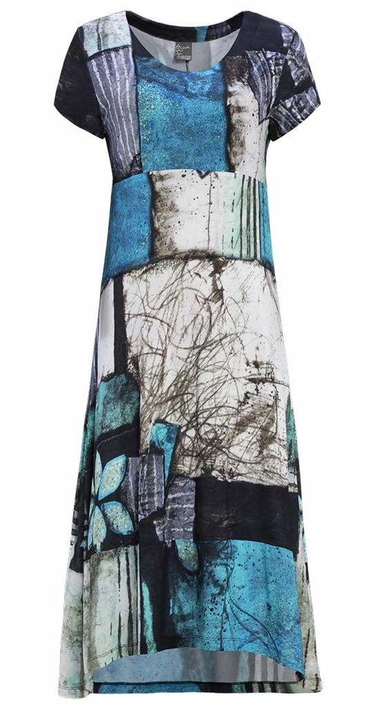 Simply Art Dolcezza: Ocean Breeze Orchid Asymmetrical Flared Midi Dress (2 Left!) DOLCEZZA_SIMPLYART_19668_N