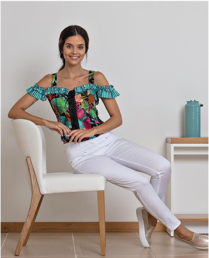 Paul Brial: Jungle Of Pink Purple Blooms Cold Shoulder Top