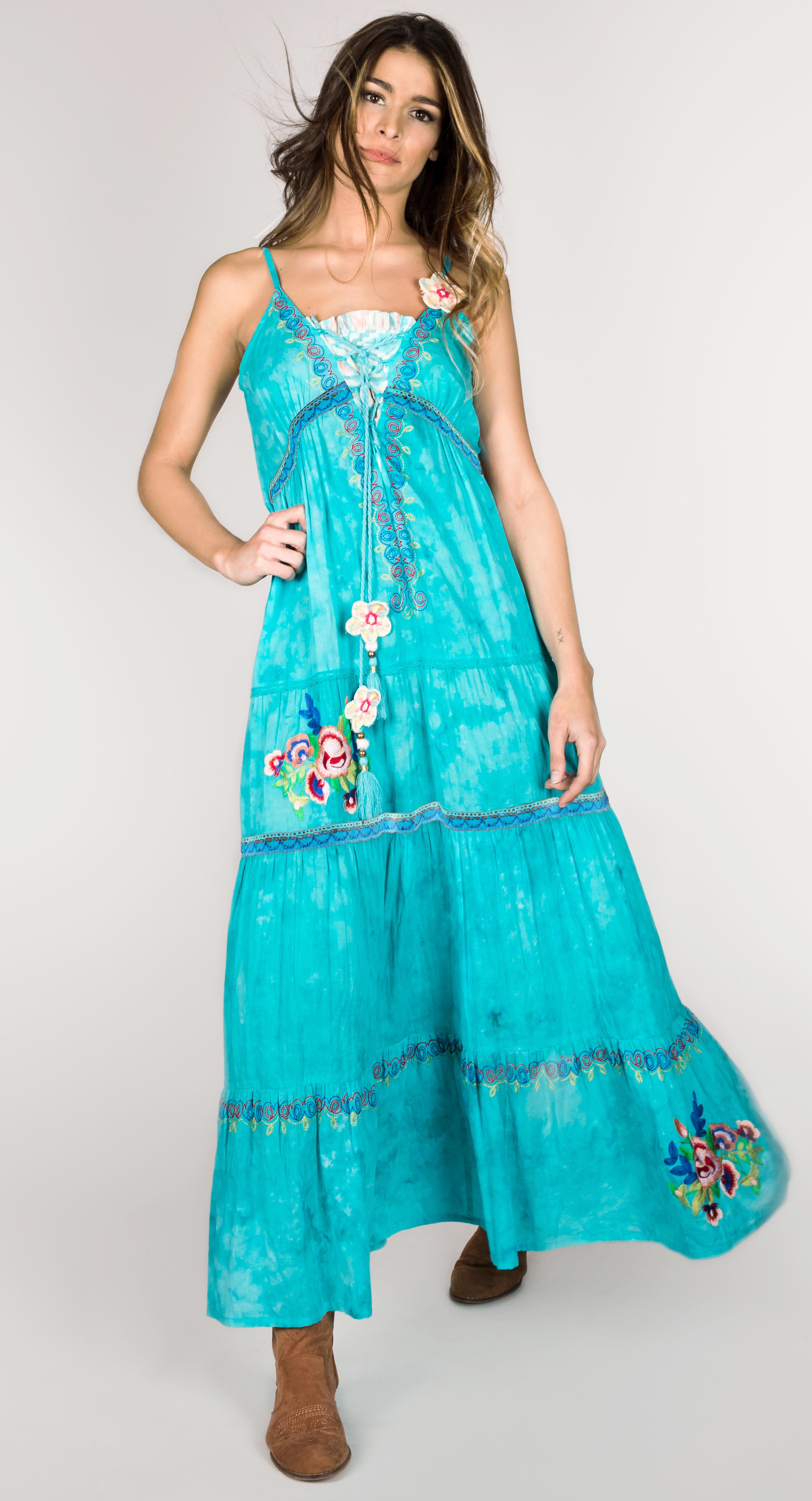 Shoklett: High Low Corset Tied Bodice Sea Flower Maxi Dress Sherlyn SHOKLETT_10022S19DR_N