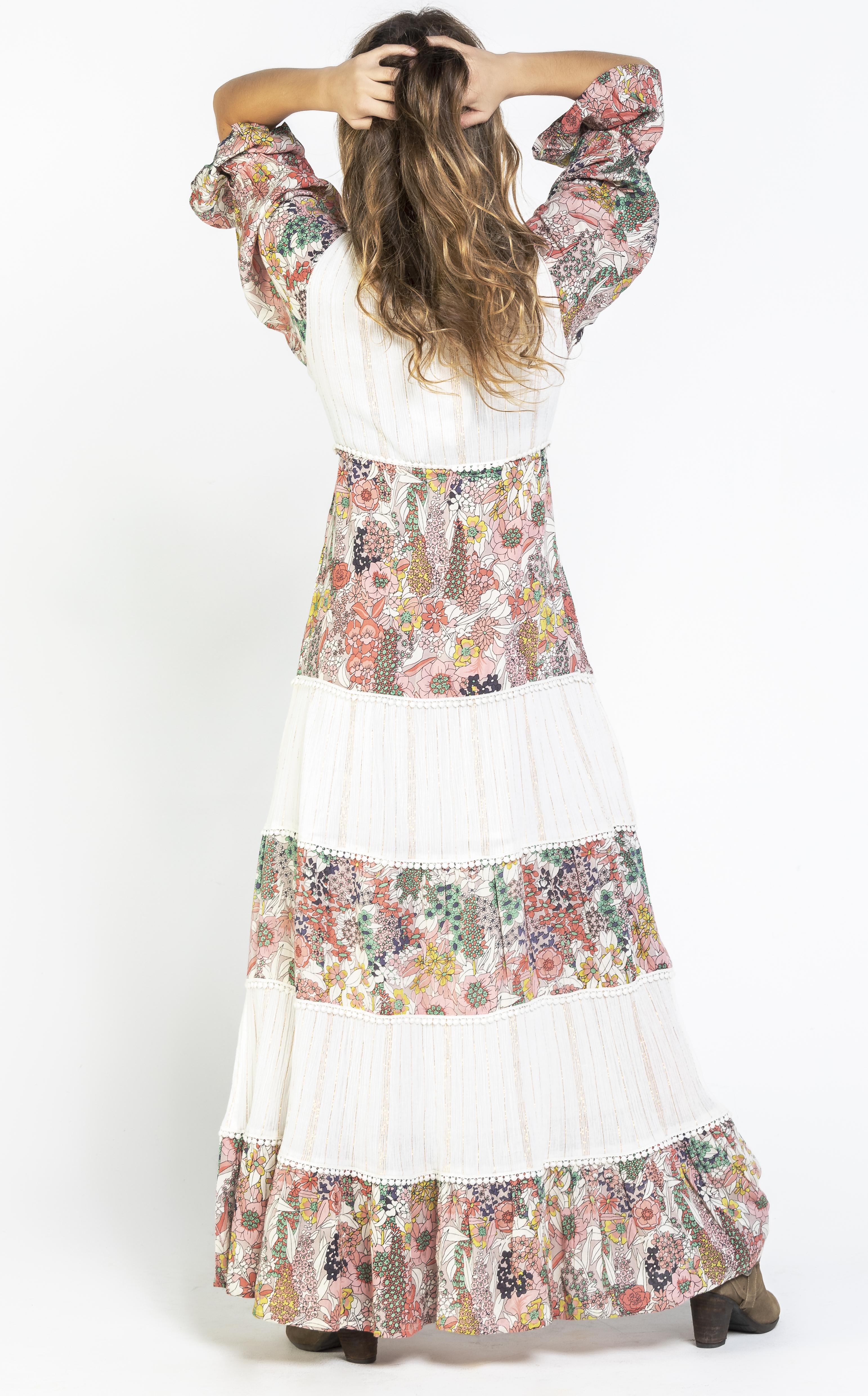 Savage Culture: Pink Daffodil Long Beach Maxi Dress