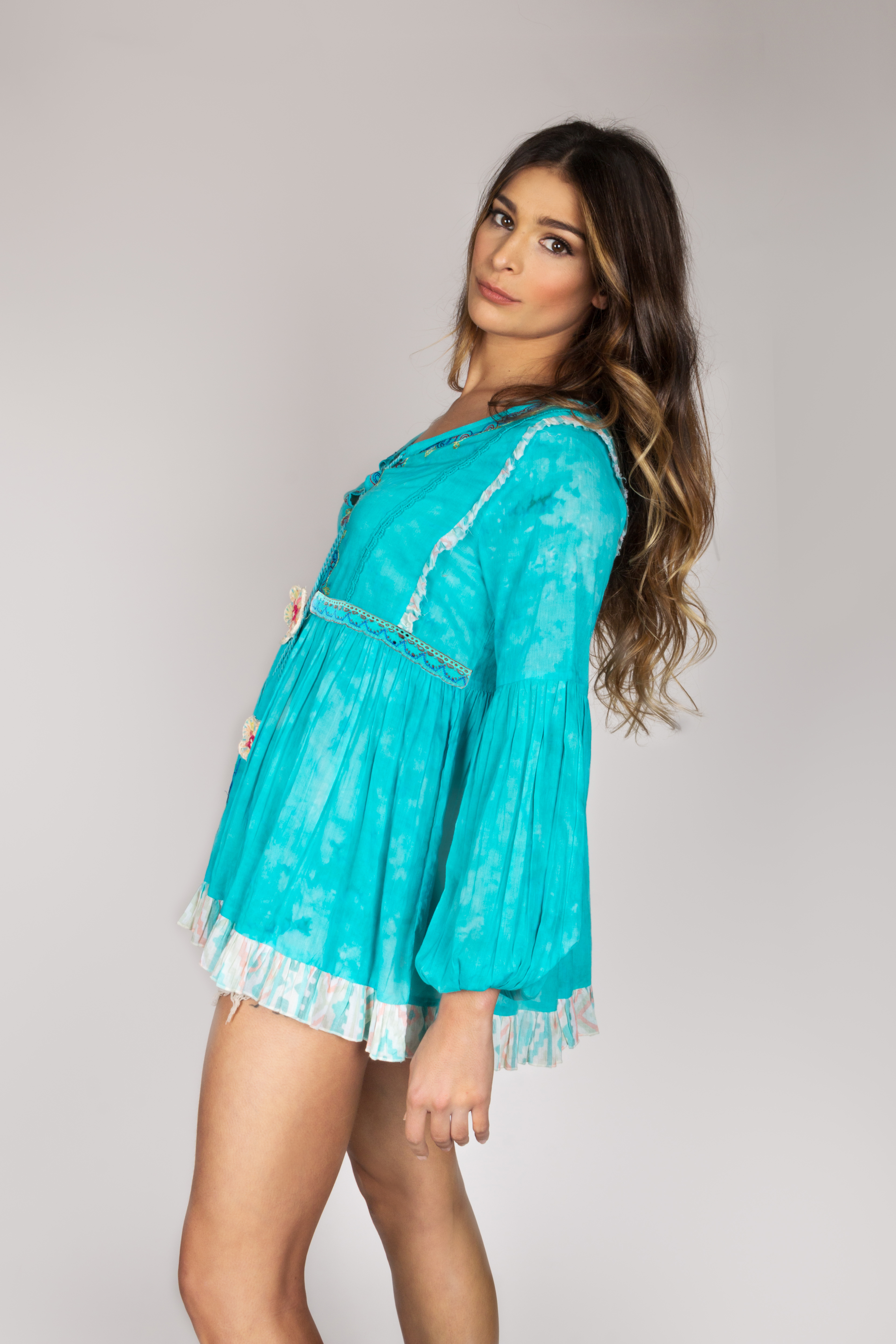 Shoklett: Tied Bodice Fit & Flare Sea Flower Tunic Sherlyn SOLD OUT