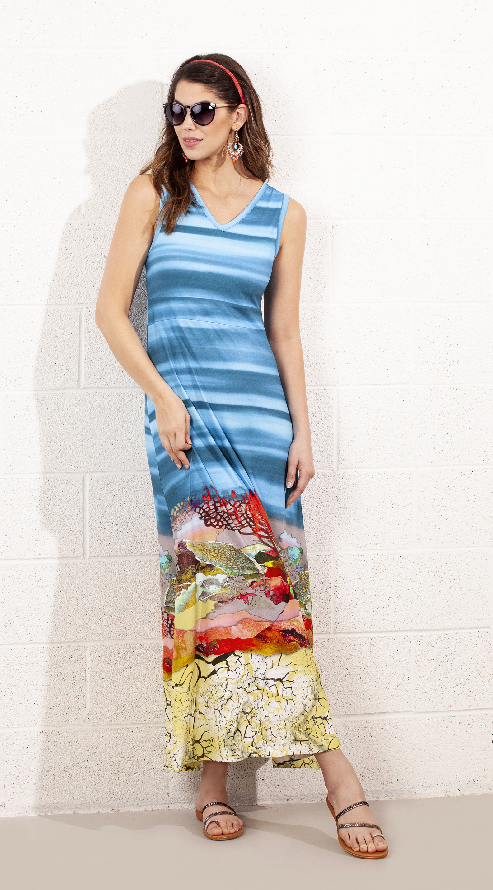 Dolcezza: Under The Sea Coral Scene Art Maxi Dress (1 Left!) DOLCEZZA_19213_N