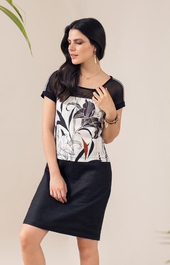 Maloka: Lily Sketch Art Colorblock Linen Stretch Dress MK_YOLANE