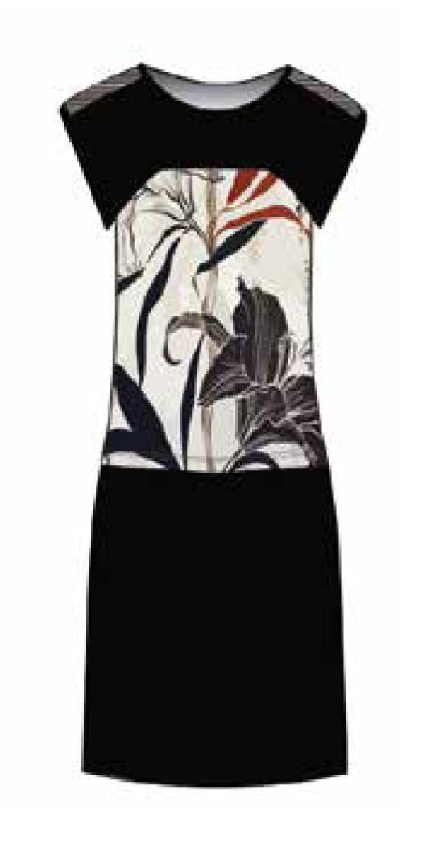 Maloka: Lily Sketch Art Colorblock Linen Stretch Dress