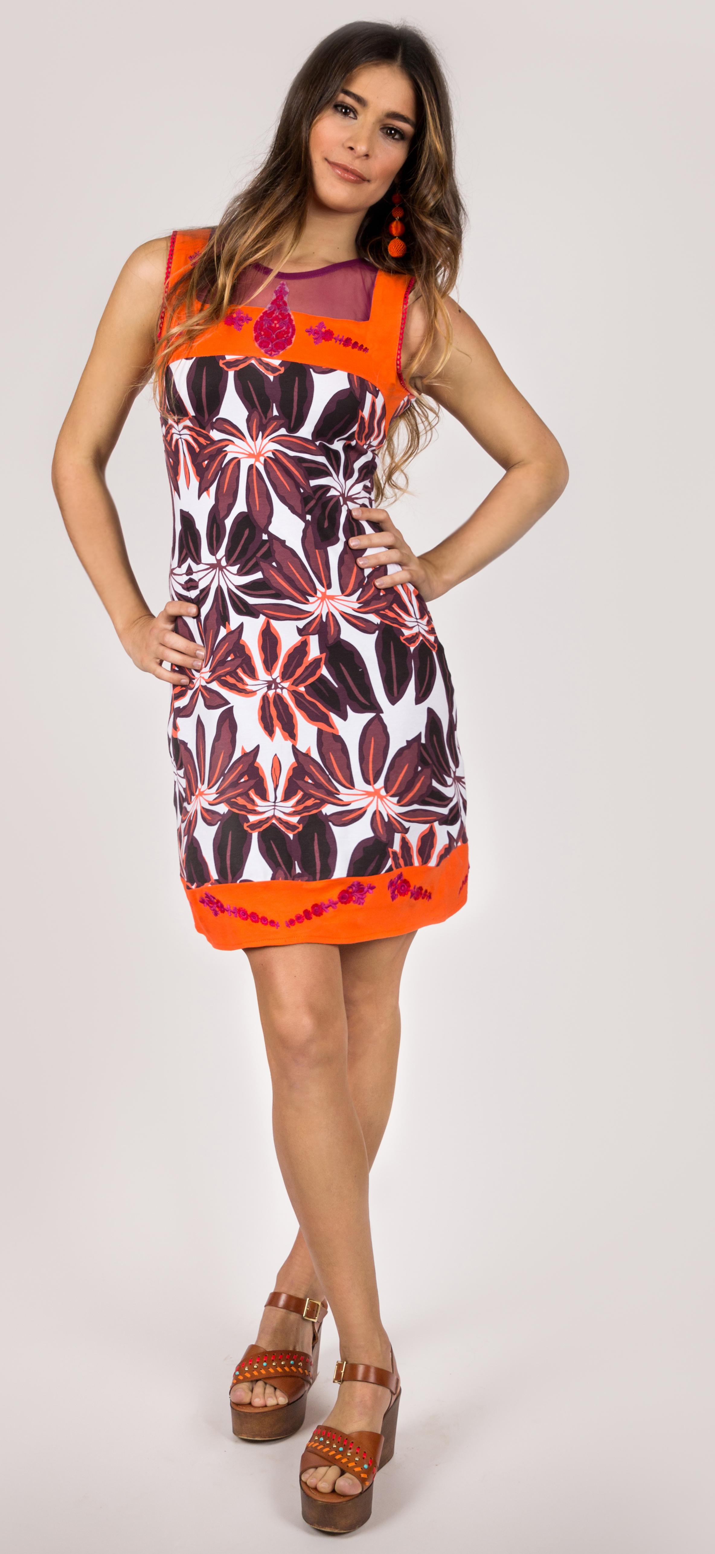 Shoklett Spain: Orange Hibiscus Fit & Flare Dress Samantha SHOKLETT_10062S19DR