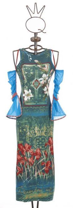 Save The Queen Italy: Monet Garden With Tulip Sleeves Dress STQ_TULIP_N