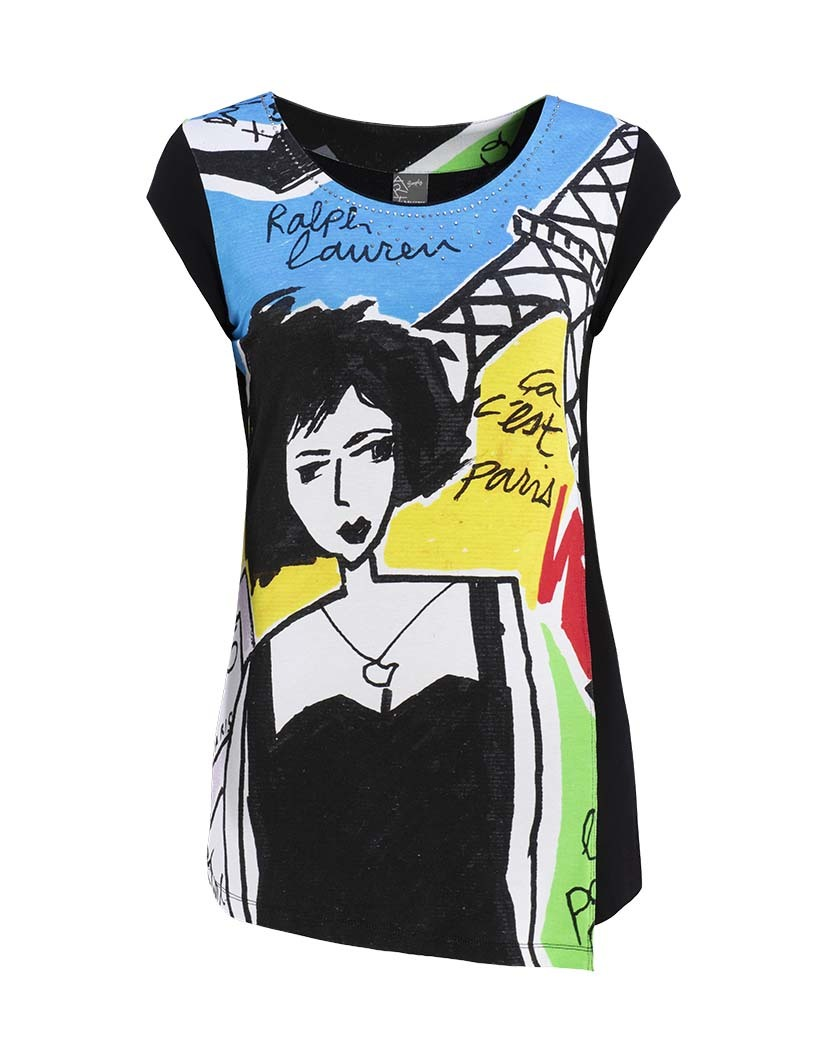 Dolcezza Simply Art: Pretty Lady In Paris Asymmetrical Art Tunic (3 Left!) DOLCEZZA_SIMPLY_ART_19702