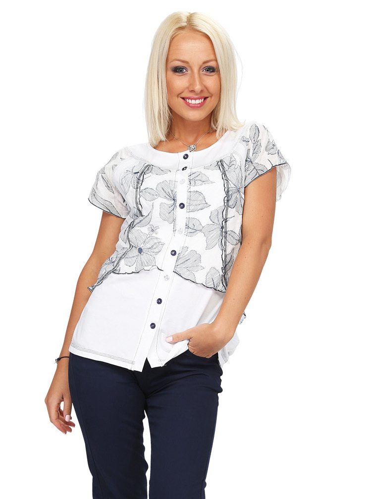 S'Quise Paris: Black Daisy Crinkled Double Cut Blouse (2 Left!) SQ_1811_N
